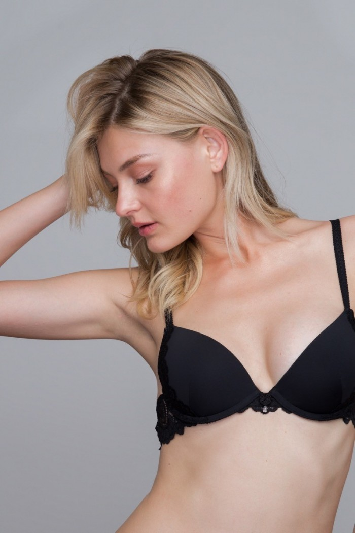 bra, plunge, push-up, with wires