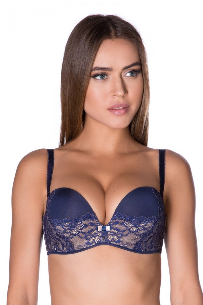bra, plunge, push-up, removable straps, with wires